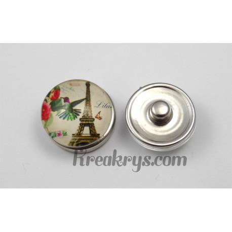 Bouton pression Tour Eiffel avec un oiseau