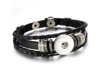 Bracelet pression cuir tressé