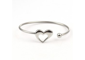 Bracelet manchette coeur en acier inoxydable