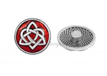 Bouton pression métal argenté noeud celte fond rouge