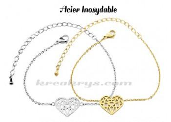 Bracelet Acier Inoxydable collection charm's : Coeur