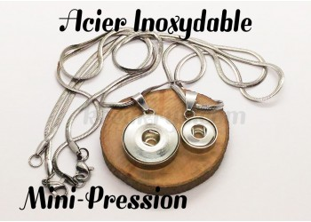 Chaine et pendentif pression en Acier Inoxydable