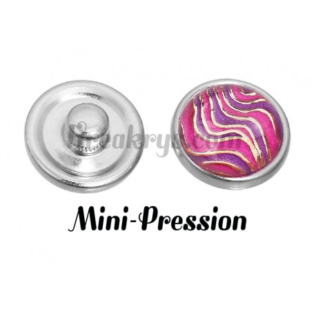 Bouton mini-pression vague rose et doré