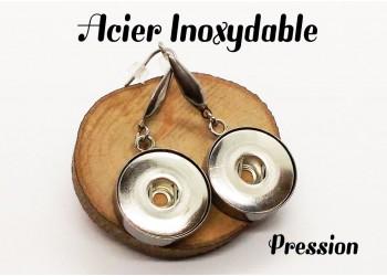 Boucles d'oreilles pression acier inoxydable