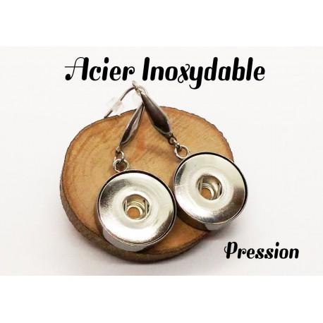 Boucle d'oreille pression acier inoxydable