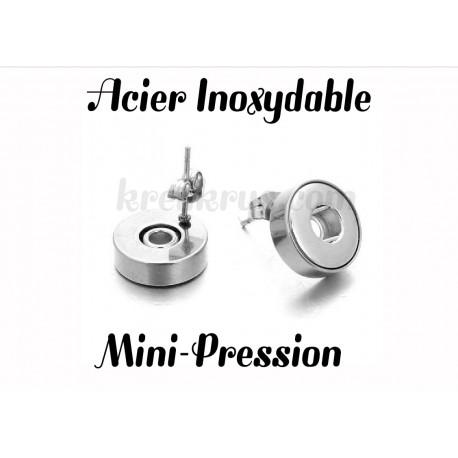 Boucles d'oreilles mini-pression acier inoxydable puce