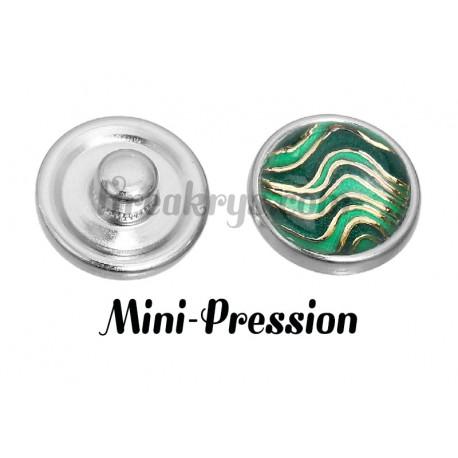 Bouton mini-pression vague vert et doré