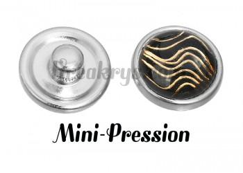 Bouton mini-pression vague noir et doré