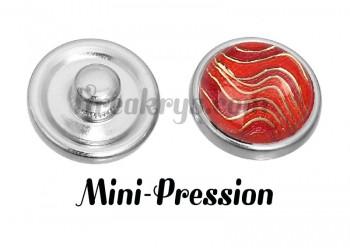 Bouton mini-pression vague rouge et doré