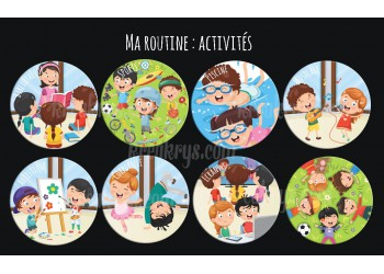 "Lot de 8 Badges 25 mm Magnet collection ""Ma routine"" : lot ma routine activités"