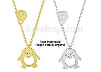 Collier Acier inoxydable pingouin et igloo