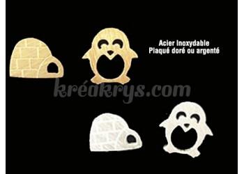 Boucles d'oreilles Acier inoxydable pingouin et igloo