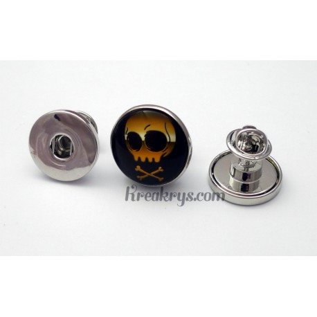 Pin's pression métal simple, couleur argent