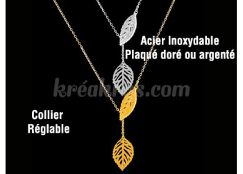 Collier Acier inoxydable feuilles