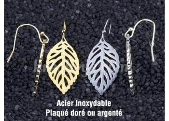 Boucles d'oreilles Acier inoxydable feuilles