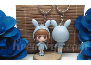 Porte-clé Figurine résine fille déguisé en totoro