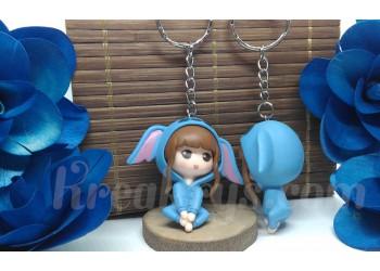 Porte-clé Figurine résine fille déguisé en stitch