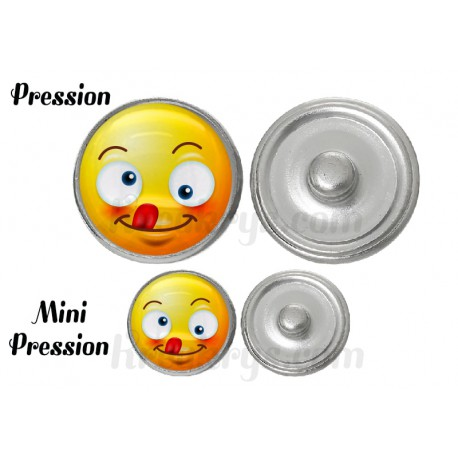 "Bouton pression verre collection ""Emoticônes"" : grimace"