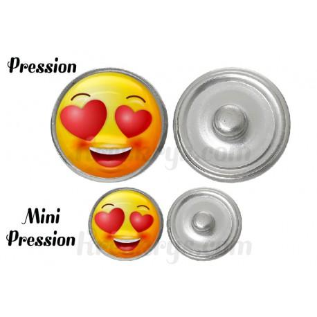 """Bouton pression verre collection """"Emoticônes"""" : amoureux"""