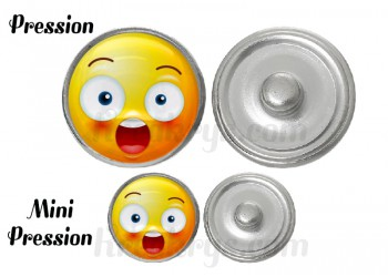 "Bouton pression verre collection ""Emoticônes"" : Etonné"