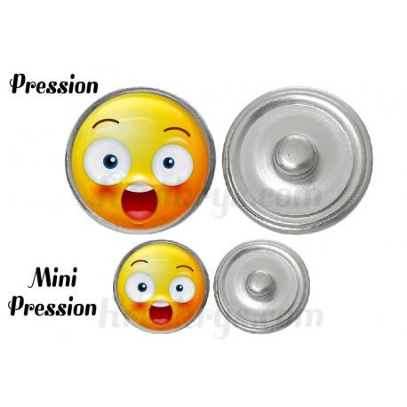 """Bouton pression verre collection """"Emoticônes"""" : Etonné"""
