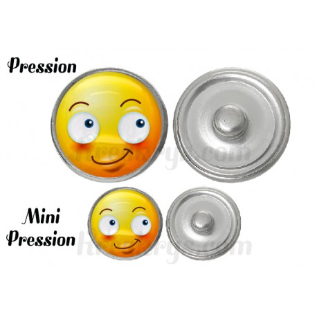 "Bouton pression verre collection ""Emoticônes"" : souriant"