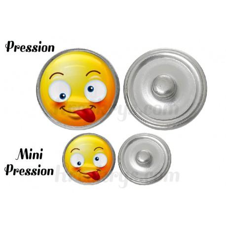 "Bouton pression verre collection ""Emoticônes"" : souriant"
