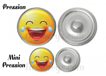 "Bouton pression verre collection ""Emoticônes"" : MDR"