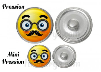 "Bouton pression verre collection ""Emoticônes"" : moustache et lunette"
