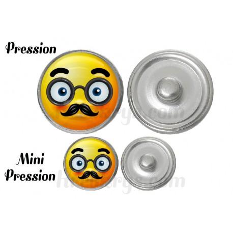 """Bouton pression verre collection """"Emoticônes"""" : moustache et lunette"""
