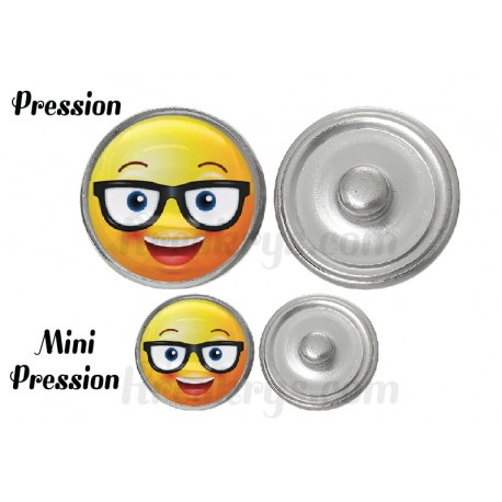 "Bouton pression verre collection ""Emoticônes"" : lunette souriant"