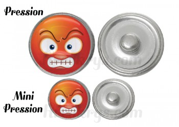 "Bouton pression verre collection ""Emoticônes"" : grognon"
