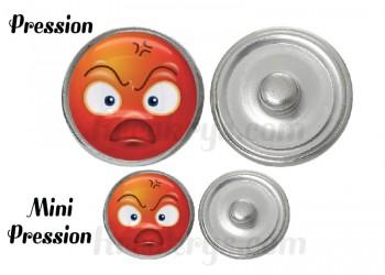 "Bouton pression verre collection ""Emoticônes"" : colère"