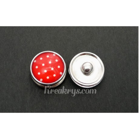 Bouton pression Petits Pois blanc fond rouge