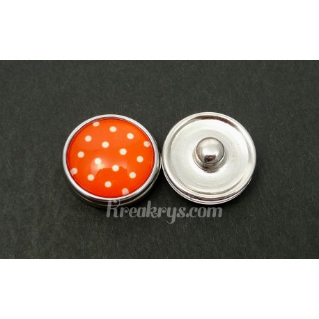 Bouton pression Petits Pois blanc fond orange