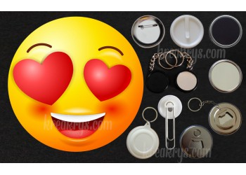 Badge Collection Emoticône : amoureux
