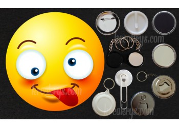 Badge Collection Emoticône : tire la langue