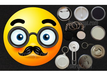 Badge Collection Emoticône : Moustache et lunettes