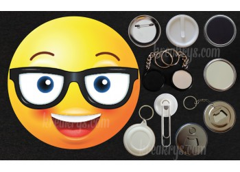 Badge Collection Emoticône : Lunettes souriant