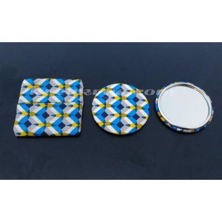 Badge 58 mm Miroir de poche avec tissu kheops bleu et sa pochette