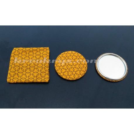 Badge 58 mm Miroir de poche avec tissu moutarde cercle et sa pochette