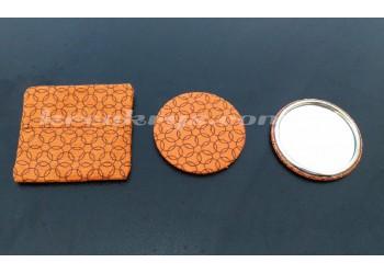 Badge 58 mm Miroir de poche avec tissu orange cercle et sa pochette