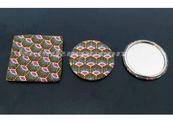 Badge 58 mm Miroir de poche avec tissu plume moutarde/rose et sa pochette