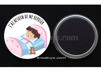 "Badge 25 mm Magnet collection ""Emotions/besoins"" : J'ai besoin de me reposer"