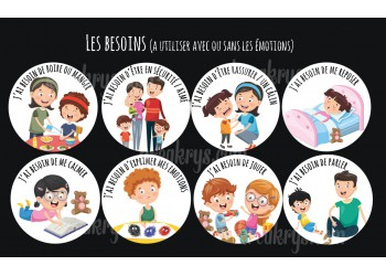 "Badge 25 mm Magnet collection ""Emotions/besoins"" : Lot de 8 Magnets les besoins"