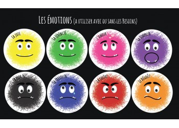 "Badge 25 mm Magnet collection ""Emotions/besoins"" : Lot de 8 Magnets les émotions"