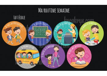 "Lot de 7 Badges 25 mm Magnet collection ""Ma routine semaine"" : lot école"