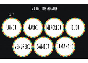"Lot de 7 Badges 25 mm Magnet collection ""Ma routine journée"" : jours de la semaine"