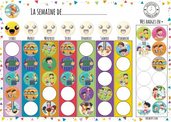 "Badge 25 mm Magnet collection ""Ma routine semaine"" : Maxi lots école 40 magnets + 1smiley offert"