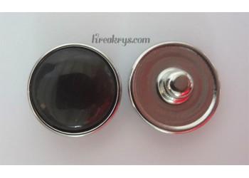 Bouton pression Oeil de chat noir/gris
